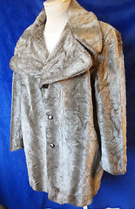 FUR mens coat VINTAGE faux vegan mink 1940 1950 trench long pea jacket seal skin