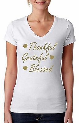Thankful Grateful Blessed (Thankful Grateful Blessed WOMEN V-NECK Ugly Christmas T-Shirt Xmas +)