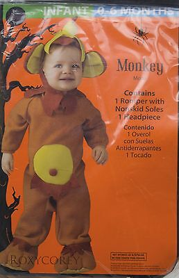 Halloween Infant Monkey Romper Nonskid Soles & Headpiece Costume Size 0-6 months