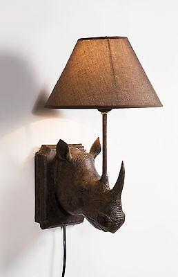 Brown Rhino Wall Light With Brown Lamp Shade