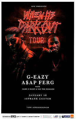 G-EAZY  A$SP FERG When Its Dark Out 1st Bank - Denver Concert Flyer / Gig Poster