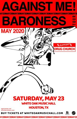 "AGAINST ME! ""BARONESS TOUR MAY 2020"" HOUSTON CONCERT POSTER - Punk Rock Music"
