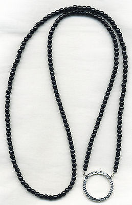 BLACK with Hammered SILVER RING Eyeglass~Glasses Holder Chain LA NECKLACE LOOP