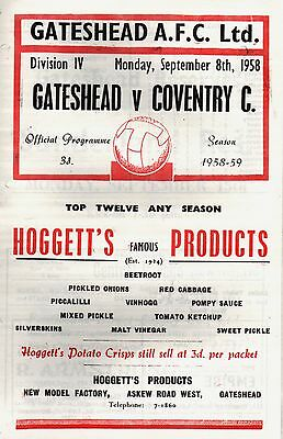 1958/59 Gateshead v Coventry City, Division 4, PERFECT CONDITION