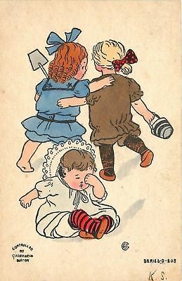 Victorian Lil Girls in Bathing Suits~Leave Crying Baby~Sand Shovel~Pail~Artist