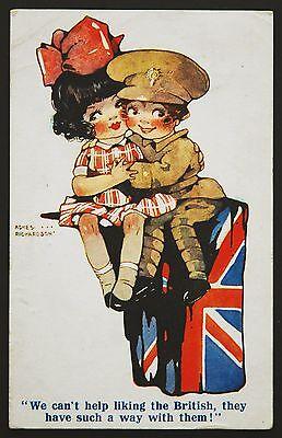 WW1 Postcard Richardson Comic British Girl Soldier Denecliffe Dorking Surrey
