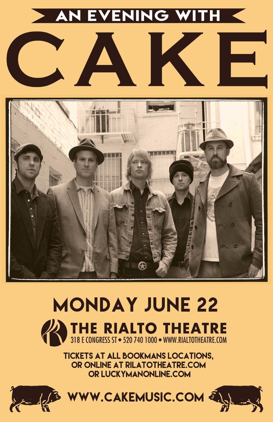 CAKE AN EVENING WITH 2015 TUCSON CONCERT TOUR POSTER - Alternative Rock Music - $10.99