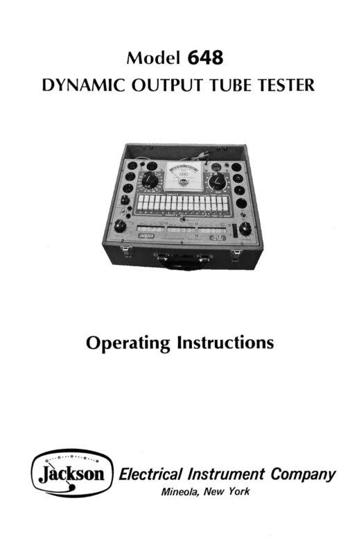 Jackson 648 Improved Tube Tester Manual with Tube Test Data