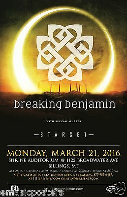 BREAKING BENJAMIN/STARSET 2016 MONTANA CONCERT TOUR POSTER-Hard Rock,Post-grunge