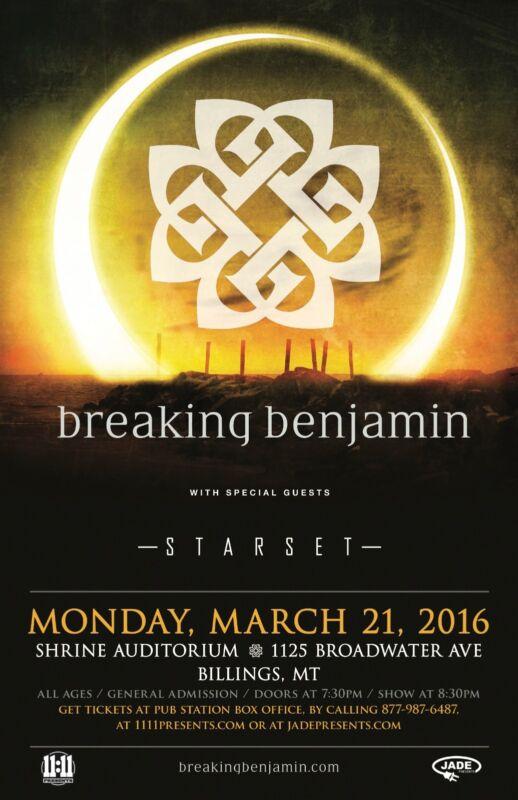 BREAKING BENJAMIN/STARSET 2016 MONTANA CONCERT TOUR POSTER-Hard Rock,Post-grunge