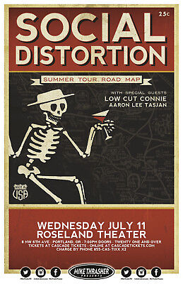 SOCIAL DISTORTION / LOW CUT CONNIE 2018 PORTLAND CONCERT TOUR POSTER - Punk Rock
