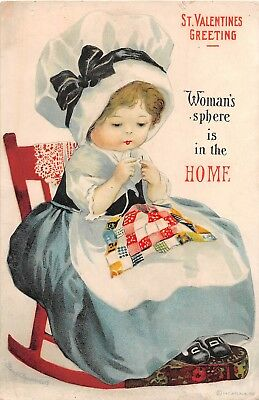 c.1915 sgd. Clapsaddle Woman's Sphere is in the Home post card Anti Suffrage