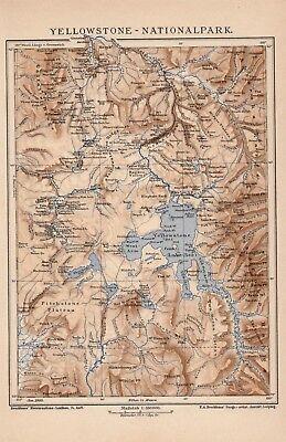 Yellowstone Nationalpark Wyoming Original Landkarte von 1905 Snake River