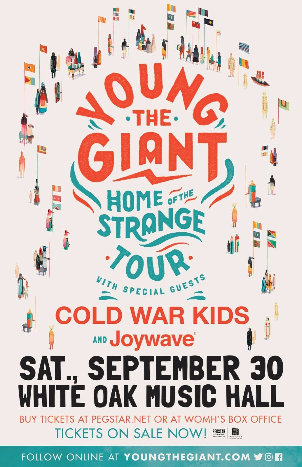 YOUNG THE GIANT HOME OF THE STRANGE TOUR 2017 HOUSTON CONCERT POSTER- Alt Rock - $10.99
