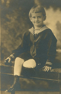 YOUNG CHILD IN SAILOR SUIT AND HIGH TOP SHOES. TONED SILVER PRINT. (Childrens Sailor Suits)