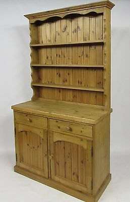 SOLID  CHUNKY WAXED PINE 4FT WELSH BOOKCASE DISPLAY CUPBOARD CABINET DRESSER