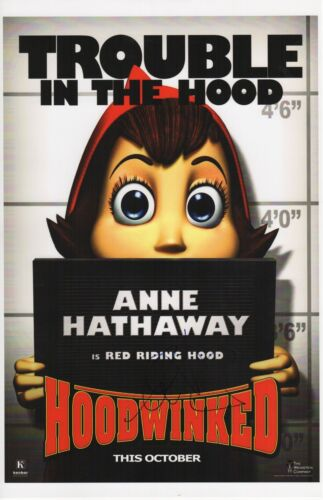 ANNE HATHAWAY SIGNED HOODWINKED PHOTO 11X17 AUTOGRAPH RED RIDING HOOD!