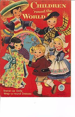VNTGE UNCUT 1953 CHILDREN ROUND WORLD PAPER DOLL~MERRILL~ORG SZ~LASR REPRODUCTIN