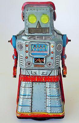 "60'S KO. JAPAN ATOM ROBOT TIN LITHOGRAPHED FRICTION CRANK MYSTERY ACTION 6.5"""