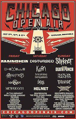 CHICAGO OPEN AIR 2016 CONCERT TOUR POSTER: Rammstein, Disturbed, Slipknot, Korn