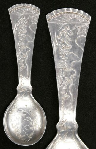 Vintage Silver plate Souvenir Collector Map Spoon Norge Norway Travel Old