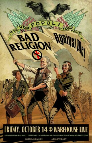 "BAD RELIGION ""VOX POPULI TOUR 2016"" CONCERT POSTER FOR HOUSTON or PHOENIX:Choose"