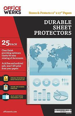 11 X 17 Sheet Protectors Portrait View 25 Pack Top Loading Protect Store