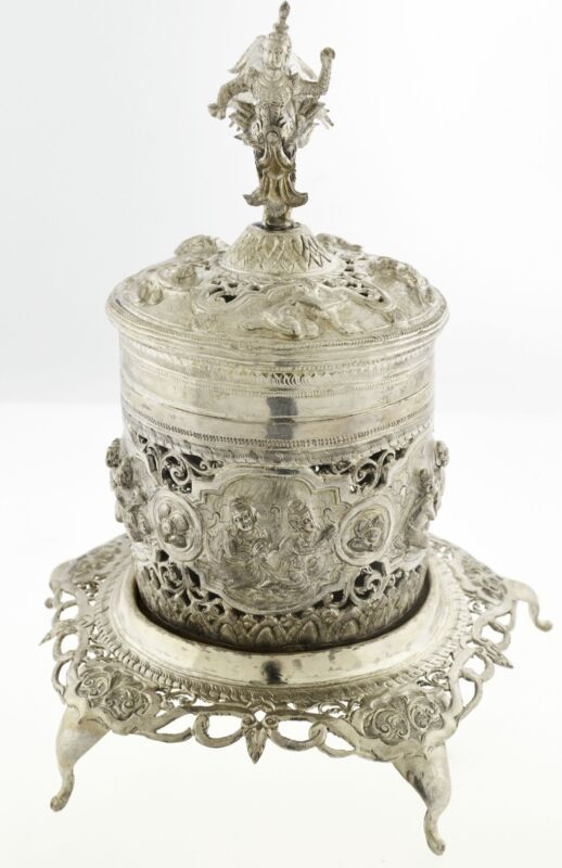 Antique Colonial India Sterling Silver Repousse Incense Burner With Footed Base