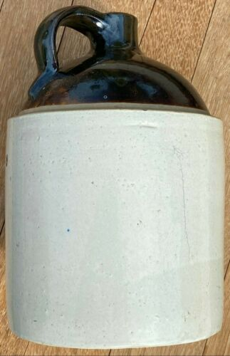"Vintage 19th Century 1 Gallon Whiskey Jug Crock Stoneware-11"" Brown & Natural"