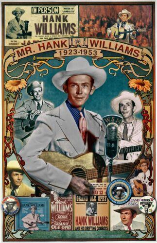 "Hank Williams FAN Tribute poster - 11x17"" - Vivid Colors!"