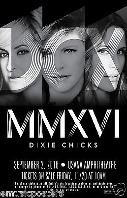 "DIXIE CHICKS ""MMXVl TOUR"" 2016 SALT LAKE CITY CONCERT POSTER - Country Pop Music"