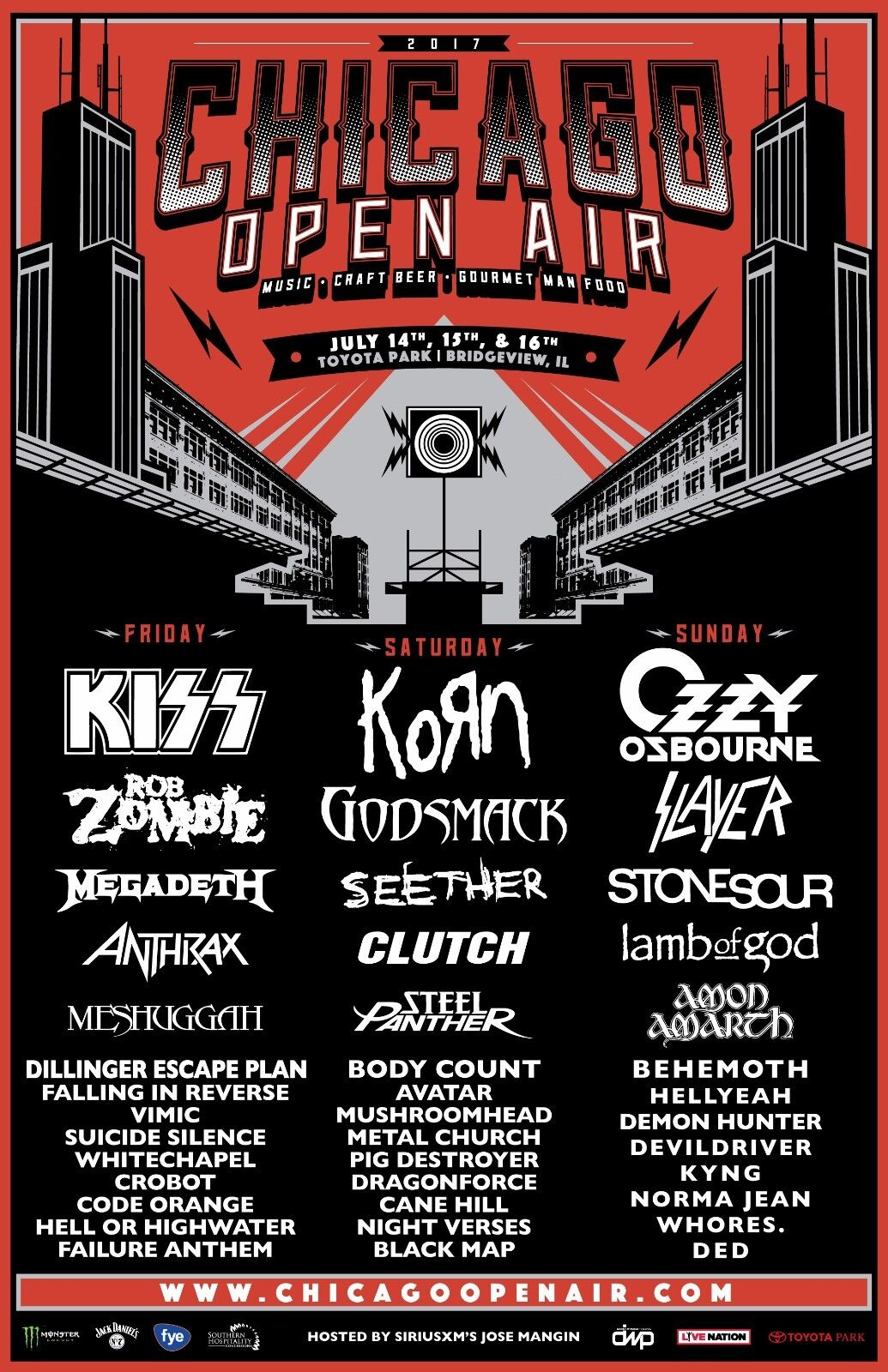 CHICAGO OPEN AIR 2017 CONCERT TOUR POSTER Kiss, Korn, Ozzy Osbourne, Rob Zombie - $11.99