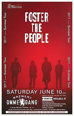 """FOSTER THE PEOPLE """"2017 SUMMER TOUR"""" NEW YORK CONCERT POSTER - Indie Pop Music"""