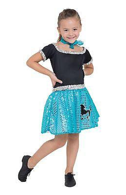Pudel Kleid Kinder Blk / Weiß Spot 140cm, 50s, Mädchen (oder Jungen (Pudel Kleid Kostüm Kinder)
