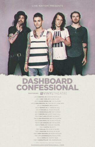 DASHBOARD CONFESSIONAL 2017 U.S. CONCERT TOUR POSTER - Alt / Indie Rock Music