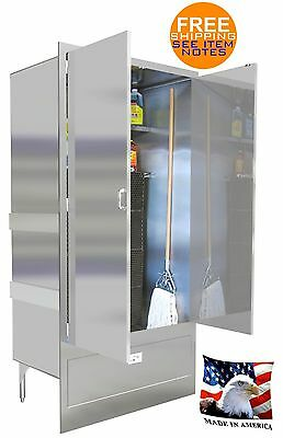 Mop Sink 48 Mat Wash Stainless Steel Enclosure Cabinet With Doors Made In Usa