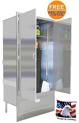 Mop Sink 42 Mat Wash Stainless Steel Enclosure Cabinet With Doors Made In Usa