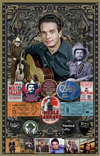"Merle Haggard 11x17"" Fan poster - Vivid Colors! Deep blacks!"