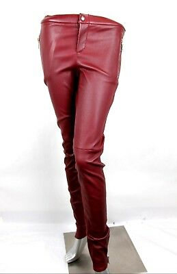 $1995 Gucci Women's Burgundy Leather Stretch Pant Leggings 44 356036 6218