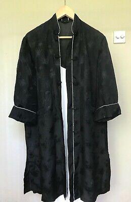 Vintage black silk Kimono Chinoiserie button down embroidered jacket