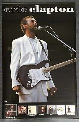 Eric Clapton 1993 PROMO POSTER White Suit with Stratocaster WARNER BROTHERS