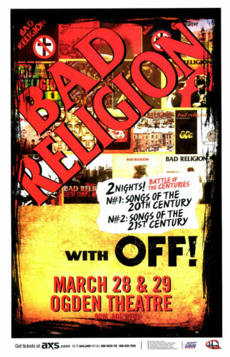 BAD RELIGION / OFF! 2015 DENVER CONCERT TOUR POSTER- Punk Rock Music Legends!