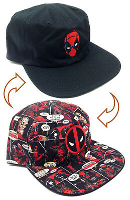 MARVEL COMICS DEADPOOL REVERSIBLE HAT CAP FLAT BILL LOGO SNAPBACK SUBLIMATED