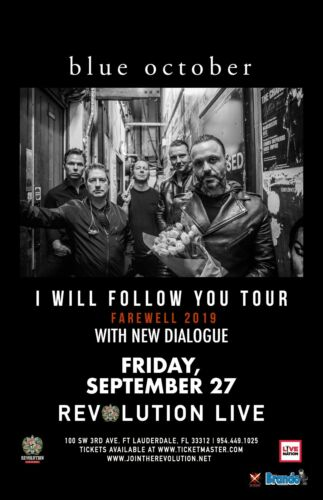 "BLUE OCTOBER ""I WILL FOLLOW YOU TOUR"" 2019 FT LAUDERDALE CONCERT POSTER-Alt Rock"