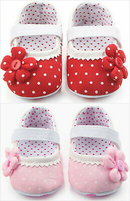 NEW Baby Girl Red Pink Polka Dot Mary Jane Flower Crib Shoes 0-6 6-12 12-18 M