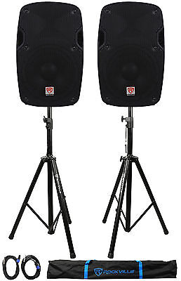 "2) Rockville SPG88 8"" Passive 800W DJ PA Speakers 8 Ohm 2) Stands+2) Cables+Case"
