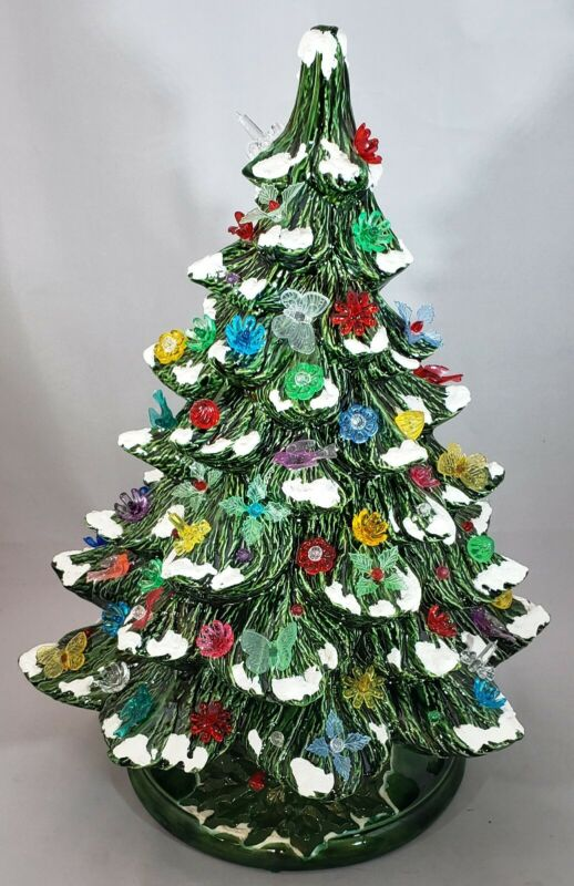 """Vintage Ceramic 16"""" Christmas Tree with Lighted Base 1970"""