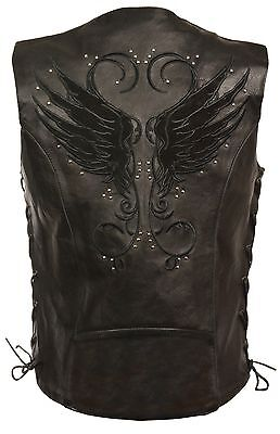 - WOMEN'S MOTORCYCLE RIDING BLACK LEATHER VEST W/ WINGS DETAILING SIDE LACE