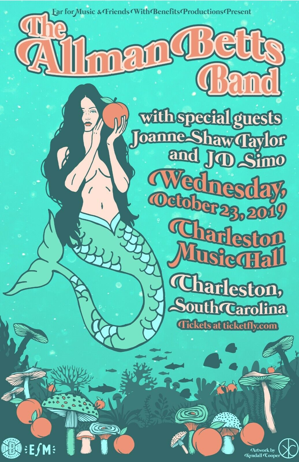 ALLMAN BETTS BAND 2019 CHARLESTON, SC CONCERT TOUR POSTER - Southern Rock Music - $10.99