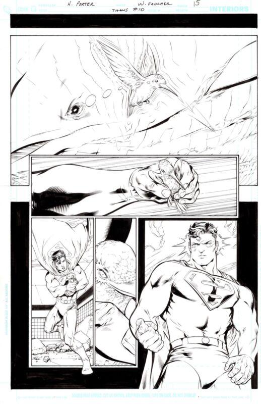 HOWARD PORTER 2009 SUPERMAN, BEAST BOY, JERICHO ORIGINAL ART!